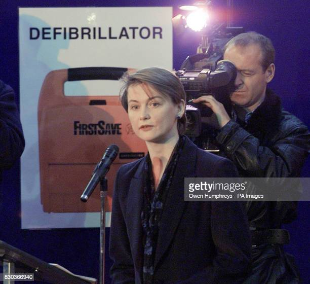 Health minister Yvette Cooper at The Metrocentre shopping complex in Newcastle launching the first life saving defibrillator machines in Europe as...