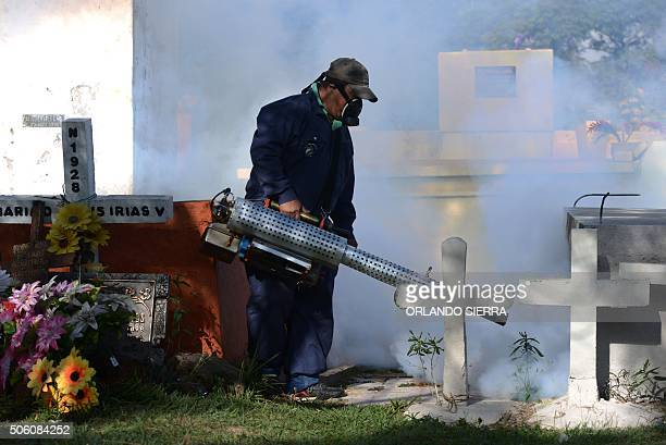 A health ministry employee sprays to eliminate breeding sites of the Aedes Aegypti mosquito which transmits diseases such as the dengue chicunguna...