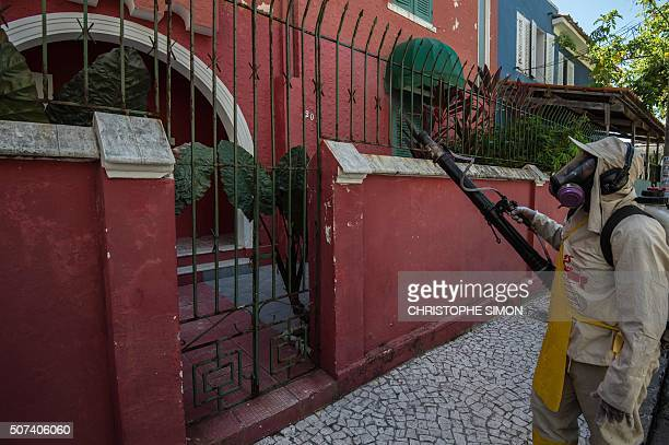 A health municipal employee fumigates in Salvador Bahía Brazil on January 29 2016 Zika virus is spreading rapidly through the Americas leaving...