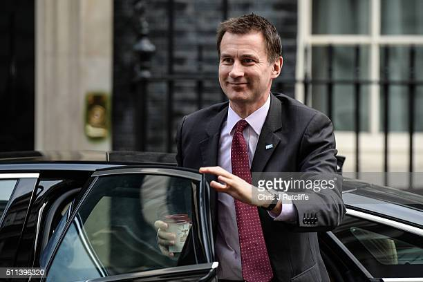 Health Secretary Jeremy Hunt arrives at Downing Street on February 20 2016 in London England Mr Cameron has returned to London after securing a deal...