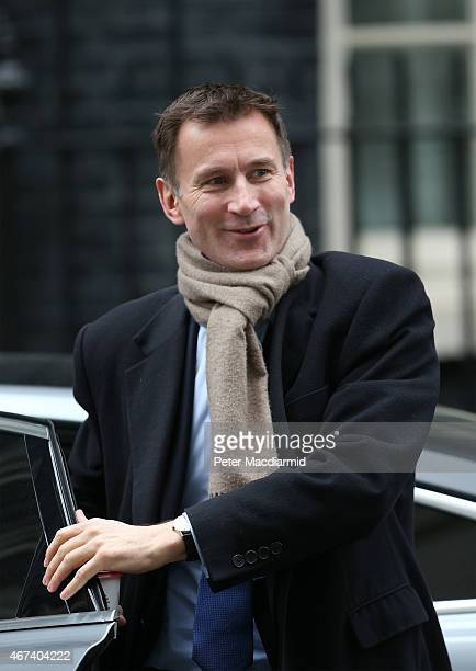 Health Secretary Jeremy Hunt arrives in Downing Street to attend cabinet on March 24 2015 in London England This is the last government cabinet...