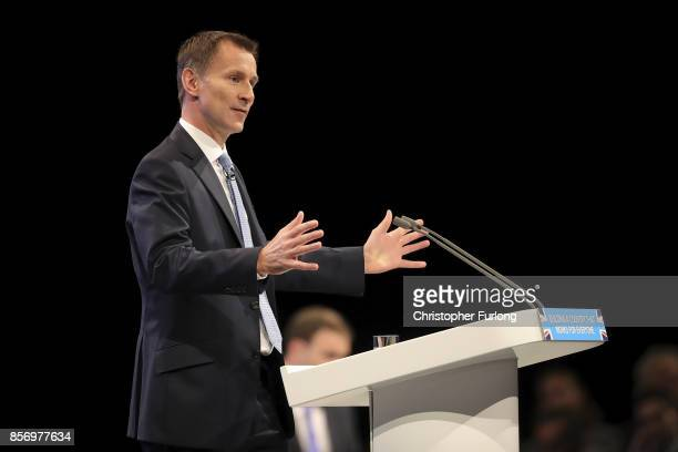 Health Secretary Jeremy Hunt delivers his keynote speech on the third day of the Conservative Party annual conference at the Manchester Central...