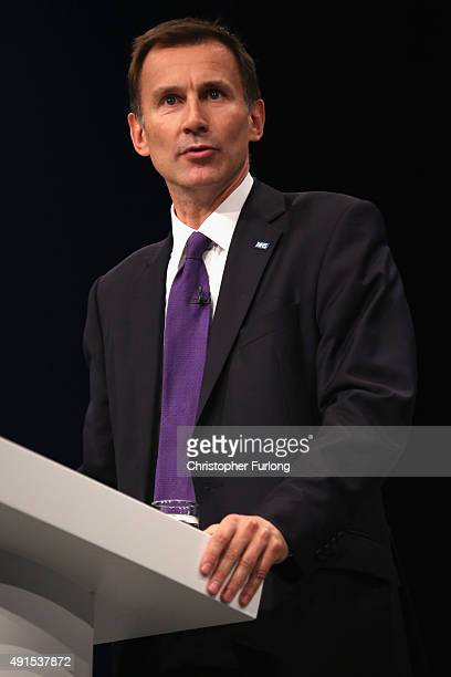 Health Secretary Jeremy Hunt delivers his keynote speech to delegates during the Conservative Party Conference on October 6 2015 in Manchester...