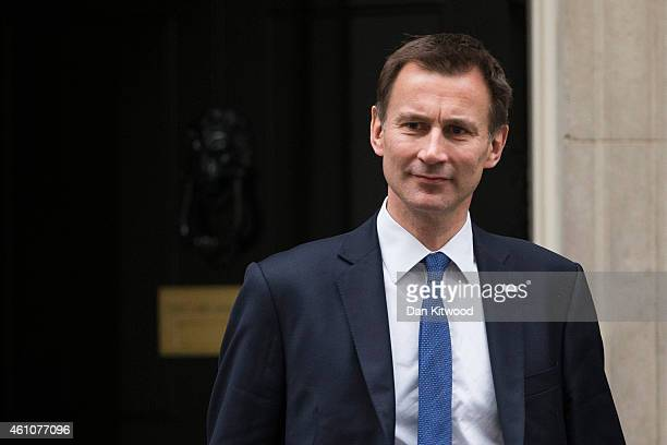 Health Secretary Jeremy Hunt leaves Downing Street after a cabinet meeting on January 6 2015 in London England The cabinet meeting is the first since...