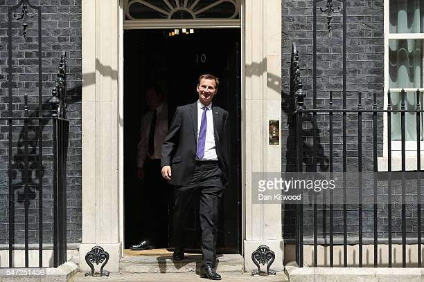 Health Secretary Jeremy Hunt leaves Downing Street as Prime Minister Theresa May appoints her cabinet on July 14 2016 in London England The UK's New...