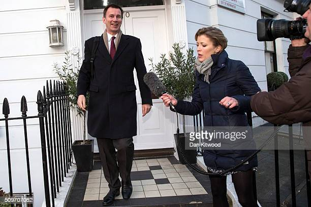 Health secretary Jeremy Hunt leaves his home on February 12 2016 in London England After negotiations between the Government and the British Medical...