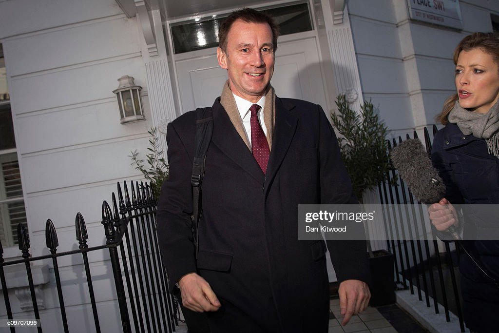 Health secretary <a gi-track='captionPersonalityLinkClicked' href=/galleries/search?phrase=Jeremy+Hunt+-+Politico&family=editorial&specificpeople=9161543 ng-click='$event.stopPropagation()'>Jeremy Hunt</a> leaves his home on February 12, 2016 in London, England. After negotiations between the Government and the British Medical Association lasting four years failed to reach an agreement, <a gi-track='captionPersonalityLinkClicked' href=/galleries/search?phrase=Jeremy+Hunt+-+Politico&family=editorial&specificpeople=9161543 ng-click='$event.stopPropagation()'>Jeremy Hunt</a> announced yesterday in the House of Commons that new contracts would be imposed on Junior Doctors from August 1st 2016.
