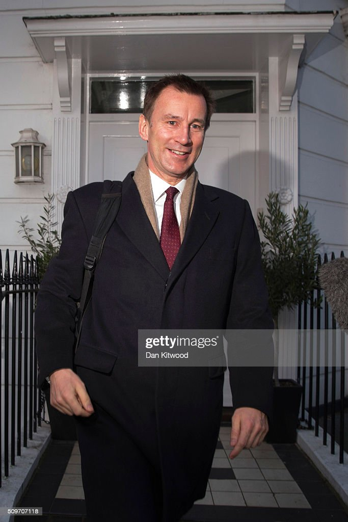 Health secretary <a gi-track='captionPersonalityLinkClicked' href=/galleries/search?phrase=Jeremy+Hunt+-+Homme+politique&family=editorial&specificpeople=9161543 ng-click='$event.stopPropagation()'>Jeremy Hunt</a> leaves his home on February 12, 2016 in London, England. After negotiations between the Government and the British Medical Association lasting four years failed to reach an agreement, <a gi-track='captionPersonalityLinkClicked' href=/galleries/search?phrase=Jeremy+Hunt+-+Homme+politique&family=editorial&specificpeople=9161543 ng-click='$event.stopPropagation()'>Jeremy Hunt</a> announced yesterday in the House of Commons that new contracts would be imposed on Junior Doctors from August 1st 2016.