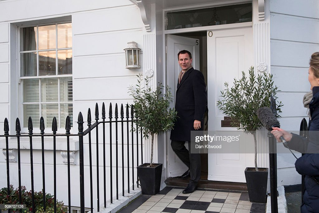 Health secretary Jeremy Hunt leaves his home on February 12, 2016 in London, England. After negotiations between the Government and the British Medical Association lasting four years failed to reach an agreement, Jeremy Hunt announced yesterday in the House of Commons that new contracts would be imposed on Junior Doctors from August 1st 2016.