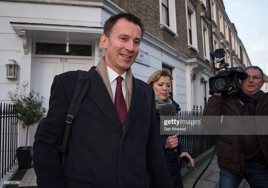 Health secretary <a gi-track='captionPersonalityLinkClicked' href=/galleries/search?phrase=Jeremy+Hunt+-+Politiker&family=editorial&specificpeople=9161543 ng-click='$event.stopPropagation()'>Jeremy Hunt</a> leaves his home on February 12, 2016 in London, England. After negotiations between the Government and the British Medical Association lasting four years failed to reach an agreement, <a gi-track='captionPersonalityLinkClicked' href=/galleries/search?phrase=Jeremy+Hunt+-+Politiker&family=editorial&specificpeople=9161543 ng-click='$event.stopPropagation()'>Jeremy Hunt</a> announced yesterday in the House of Commons that new contracts would be imposed on Junior Doctors from August 1st 2016.