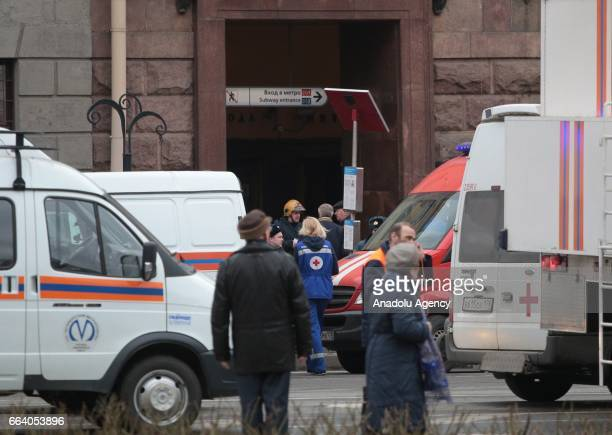 Health team workers are dispatched after an explosion at a subway station in St Petersburg Russia on April 3 2017 At least 10 people were killed on...