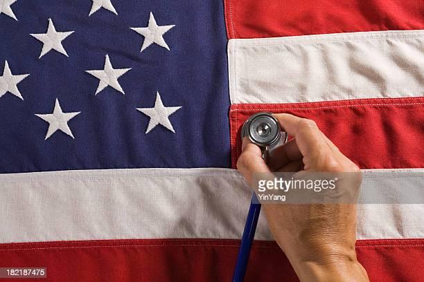 Santé et médecine réforme de la politique des États-Unis avec drapeau, stéthoscope
