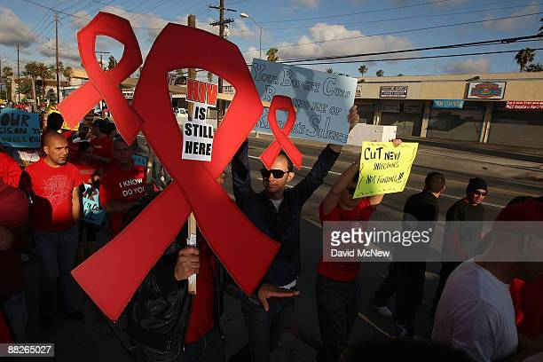 Healthcare Foundation and AIDS patients march to protest millions of dollars in cuts to lifesaving AIDS services proposed by California Governor...