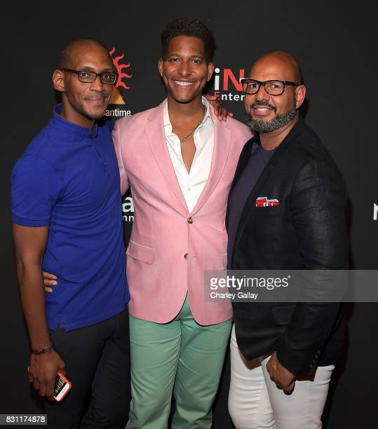 AIDS Healthcare Foundation's Christopher G Johnson Founder iNHale Entertainment Nathan Hale Williams and Founder Native Son Emil Wilbekin attend AIDS...
