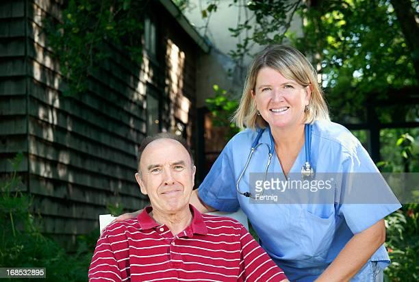 Healthcare professional providing senior care
