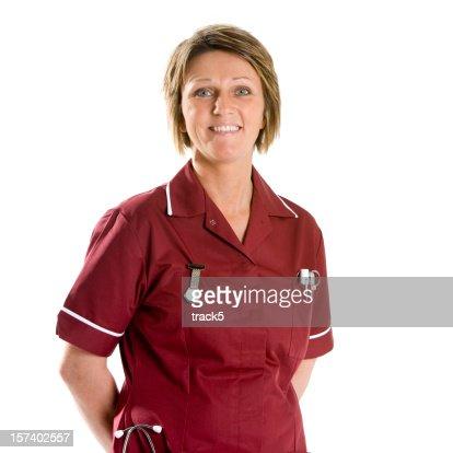 healthcare: smiling, confident staff nurse, waist-up portrait