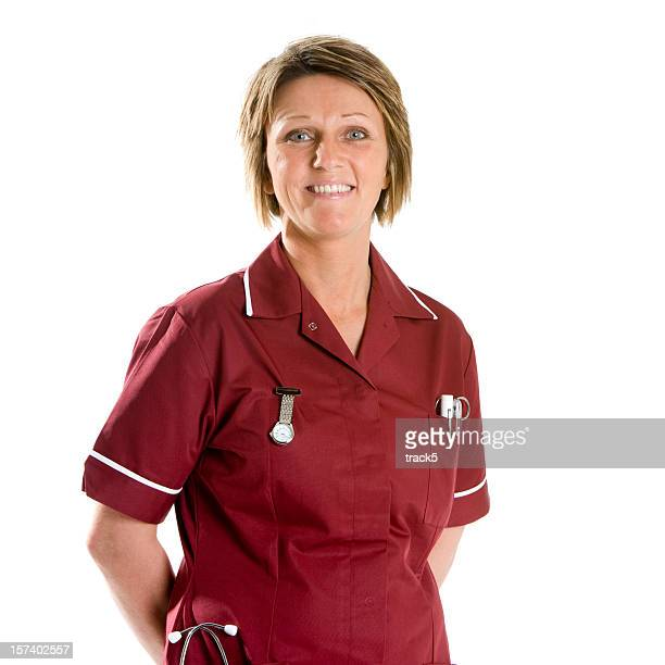 healthcare: smiling, confident staff nurse, waist-up portrait
