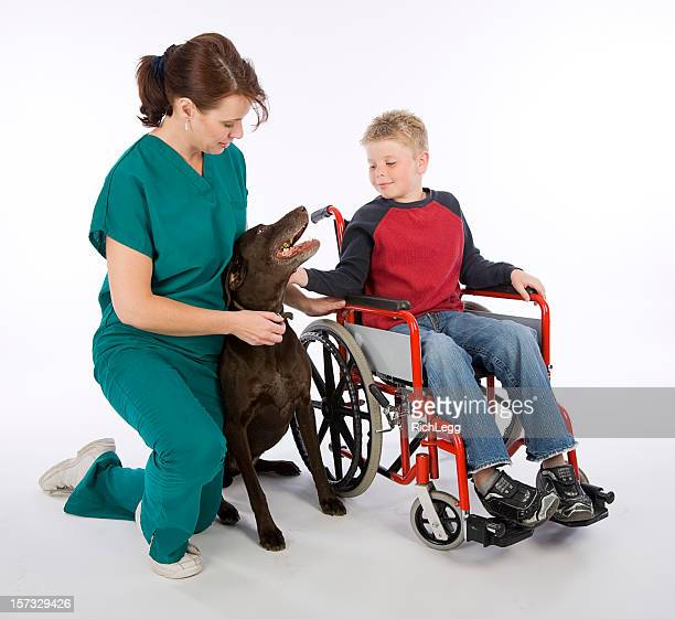 Healthcare Worker and Patient with Dog