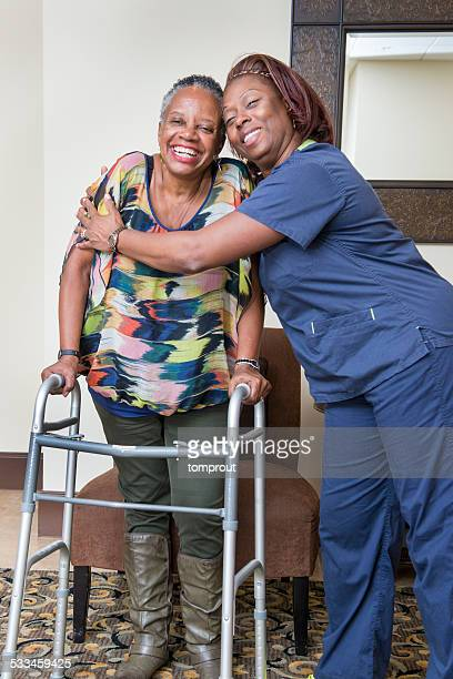 Healthcare Worker and Senior Woman Share a Victory