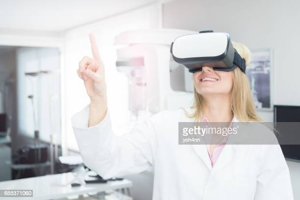 Healthcare worker using Vr headset
