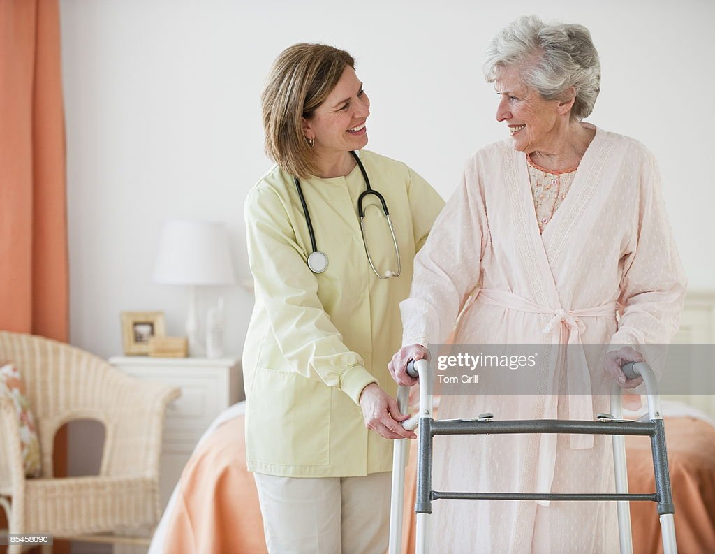healthcare worker with senior patient : Stock Photo