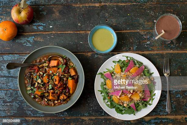 Healthy and Gluten-free Foods on a Blue Farmtable