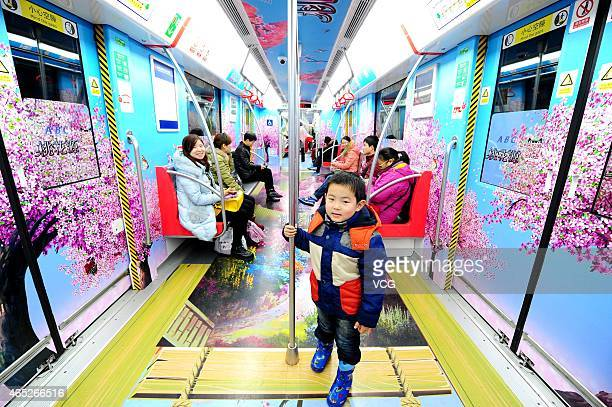 A healthy and happy themed subway train is seen on March 5 2015 in Hangzhou Zhejiang province of China Hangzhou Metro is promoting healthy and happy...