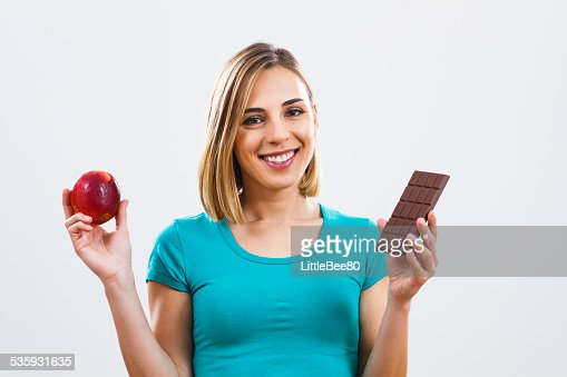 Healthy and unhealthy eating : Stock Photo