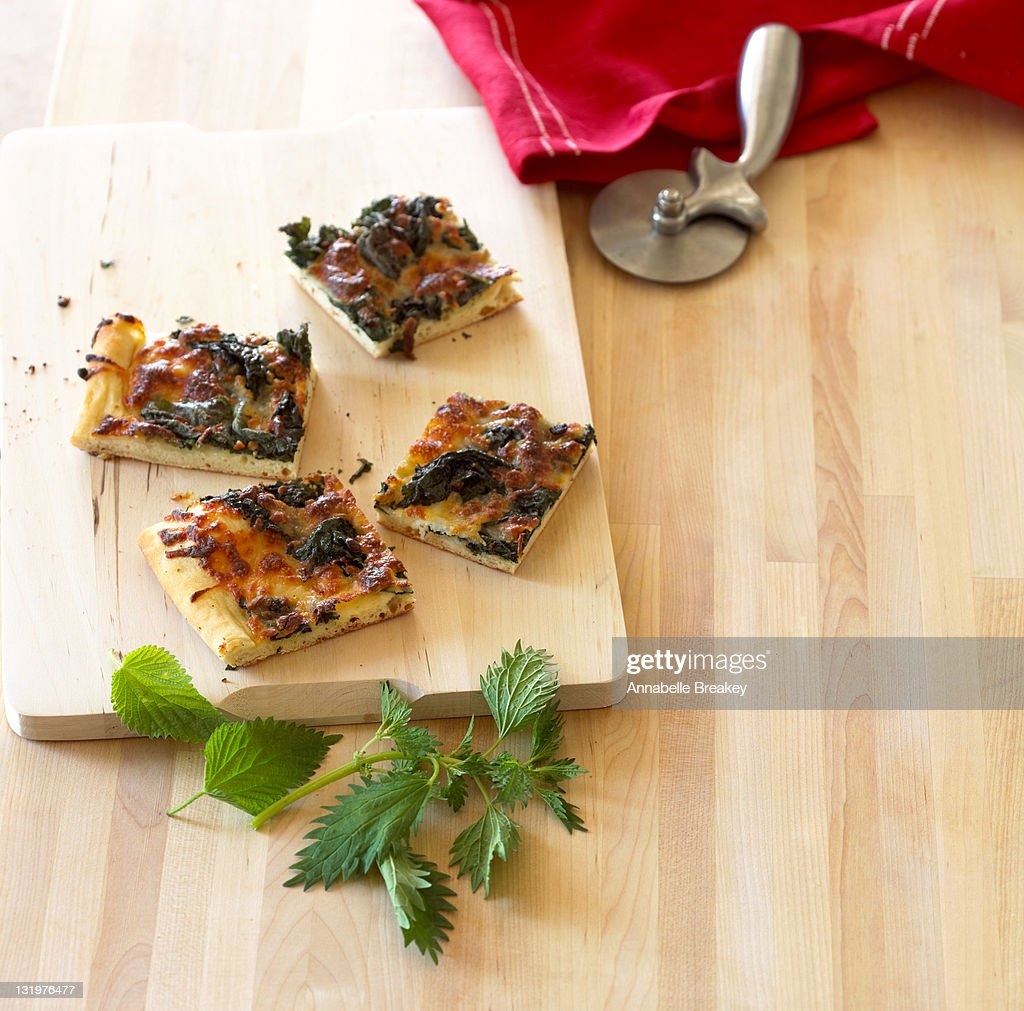 Healthy Baked Nettle Pizza with Greens : Stock Photo