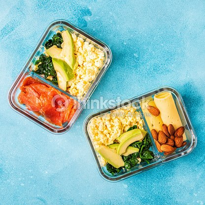 Healthy balanced lunch box, ketogenic diet lunch : Stock Photo