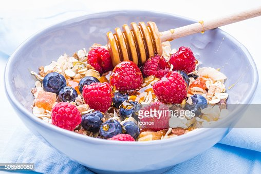 Healthy breakfast bowl. : Stock Photo