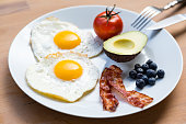 Healthy breakfast on plate consisting of fried eggs and bacon, half an avocado, a tomato and a handful of antioxidant rich blueberries.