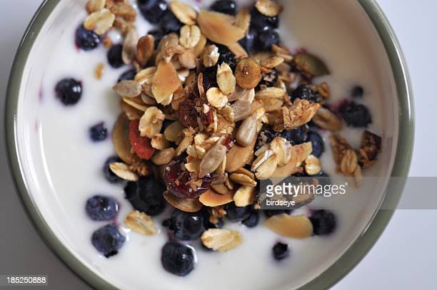 Healthy Breakfast: Granola and Yogurt with Blueberries