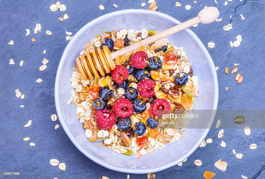 Healthy breakfast top view. : Stockfoto