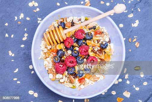 Gesundes Frühstück Aufsicht. : Stock-Foto