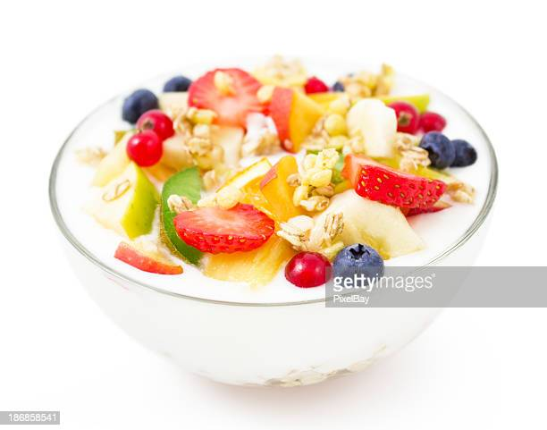 Healthy breakfast - Yogurt with fresh fruits and muesli