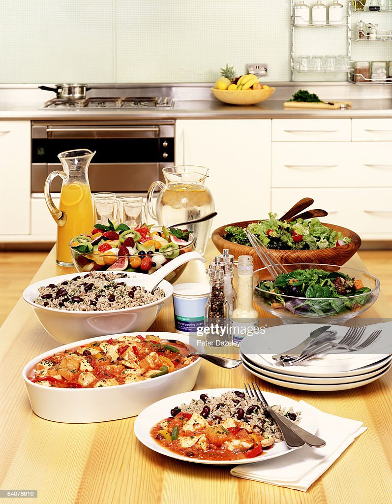 Healthy buffet prepared and ready to eat. : Stock Photo
