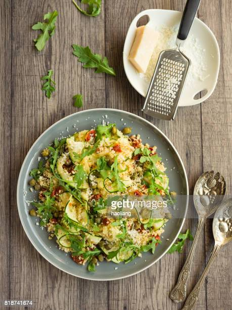 Healthy bulgur with courgette ribbon salad