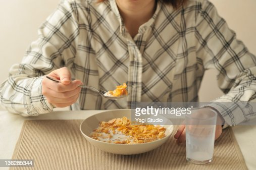 healthy cereal food with milk : Stock Photo