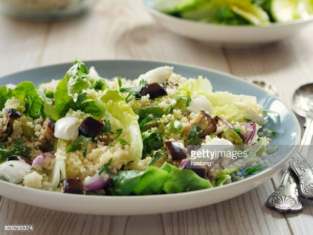 Healthy couscous salad with goat cheese