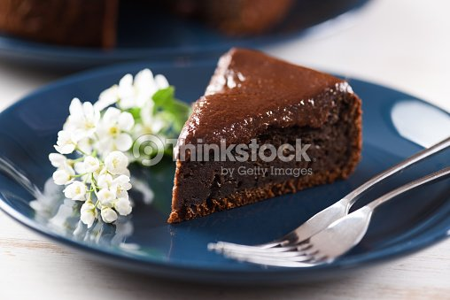 Gesundes Dessert Vogelkirsche Kuchen Mit Schokoladenglasur Verziert