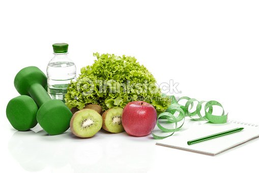 healthy eating, diet and  detox . dumbbells, kiwi  water : Stock Photo