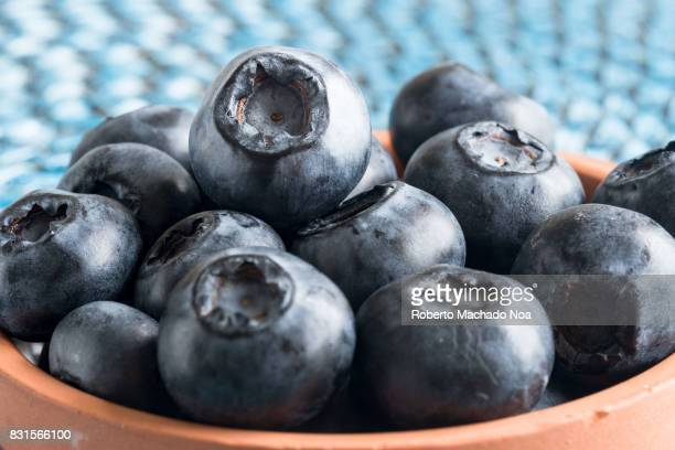 Healthy eating fresh blueberries fruit served as snack in small clay plate