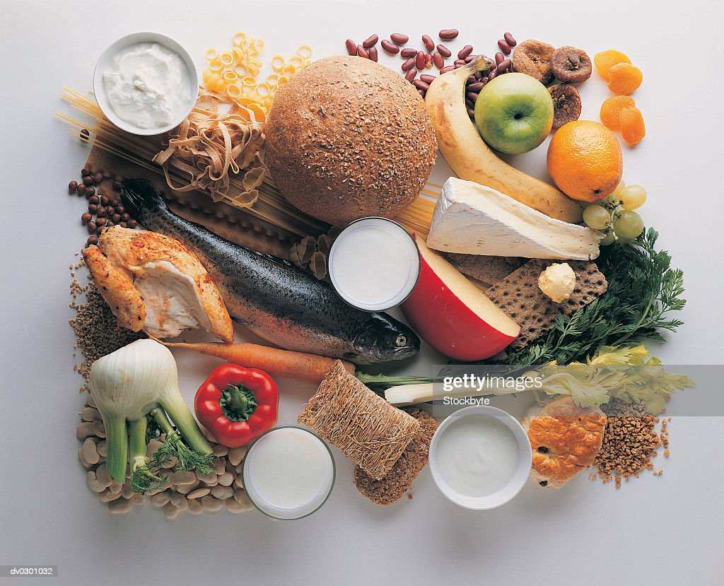 Healthy Eating - Grains, Fish, Chicken, Fruit, Vegetables, Beans and Cheeses : Stock Photo