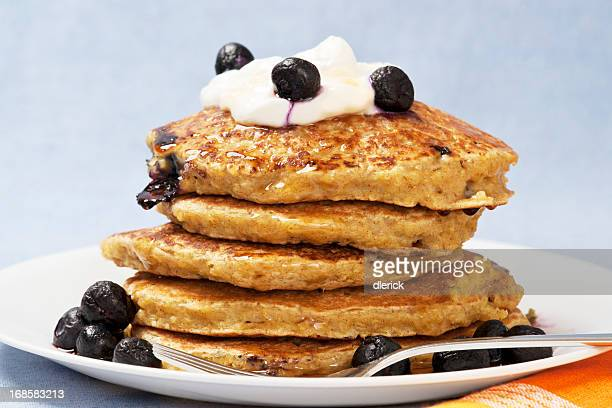 Healthy Eating: Quinoa Pancakes with Blueberries and Yogurt
