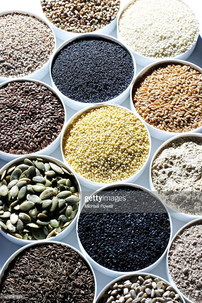 Healthy eating. Selection of raw seeds.