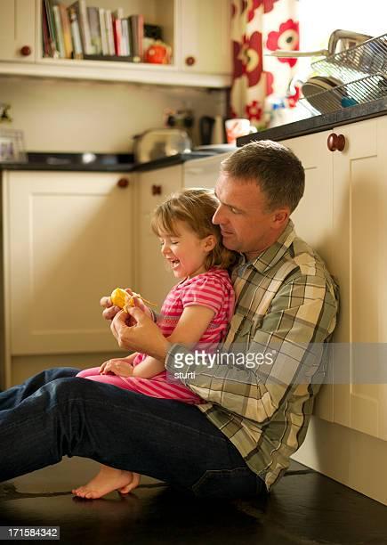 健康的な食事とパパ