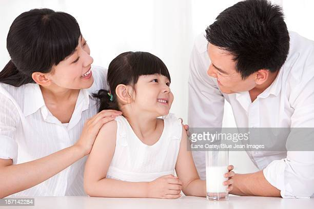 Healthy family and milk