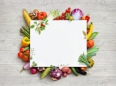 Healthy food and copy space. Studio photo of different fruits and vegetables on white wooden table. High resolution product.