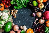 Healthy food background. Assortment of fresh vegetables and fruits on a dark background. Free space for text, top view. Flat lay